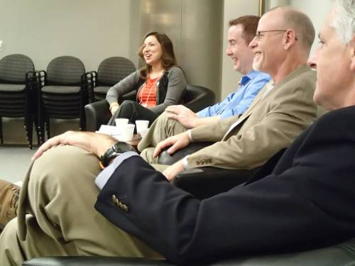 """Panelists share a laugh during the """"How to Land a Job or Internship"""" panel at College Media Day, hosted Saturday, Oct. 19 at The Richmond Times-Dispatch."""