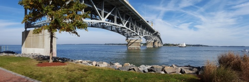The Coleman Bridge over the James River at Yorktown.